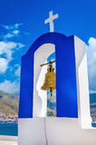 Blue and white Greek church bell tower, Greece Royalty Free Stock Image
