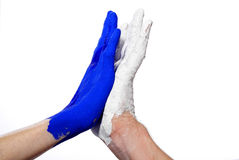 Blue and white hand high five Royalty Free Stock Images