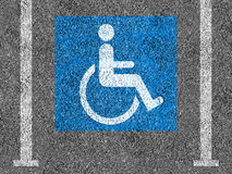 Blue and white Handicap parking symbol Royalty Free Stock Photos