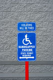 Blue and white handicapped sign Royalty Free Stock Image