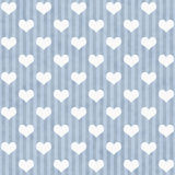 Blue and White Hearts and Stripes Fabric Background Stock Photos