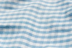 Blue and white heckered faric. Backgroundb royalty free stock photo