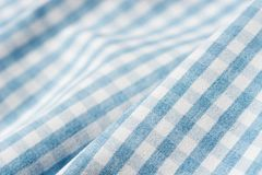 Blue and white heckered faric. Backgroundb royalty free stock photography