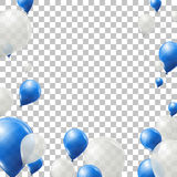Blue and white helium balloons on transparent background. Flying latex balloons. Stock Photo