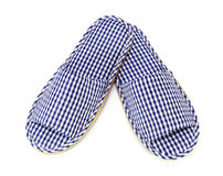 Blue and white home slippers Stock Image