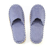 Blue and white home slippers Stock Images