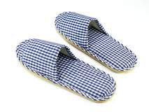 Blue and white home slippers Stock Photo