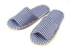 Blue and white home slippers Royalty Free Stock Image