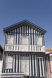 Blue & White House. Typical beach house of Costa Nova, Portugal Royalty Free Stock Images