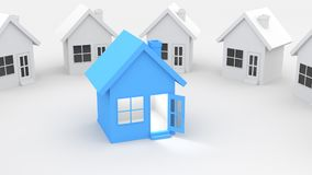 Blue and white house. White paper houses stand around a blue house with square window, open door, and bright lighting inside, on white background. 3D Rendering Royalty Free Stock Photo