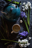 Blue and White Hyacinth Flowers and Chamomile Tea Spring Still Life Royalty Free Stock Photo