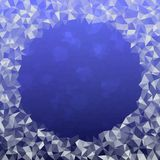 Blue White Ice Crystals Background - Triangles Low Poly Round Border Stock Photography