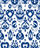 Blue and white ikat asian traditional fabric seamless pattern, vector Stock Photo