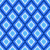 Blue and white ikat ornament geometric abstract fabric seamless pattern, vector vector illustration