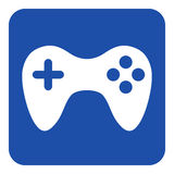 Blue, white information sign - gamepad icon Royalty Free Stock Image