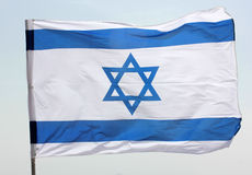 Blue and white Israeli flag Stock Photos