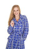 Blue and white jacket hold collar Stock Photography