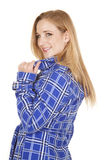 Blue and white jacket side hold collar Royalty Free Stock Photos