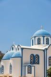 Blue and white kamari church Royalty Free Stock Images