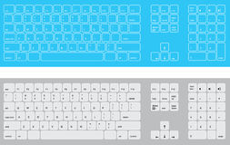 Blue and white keyboards. Illustrated QWERTY keyboards in blue and white. Available  in vector format Royalty Free Stock Photography