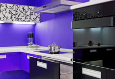 Blue white kitchen modern interior Royalty Free Stock Photos
