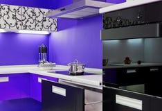 Blue white kitchen modern interior Royalty Free Stock Photos