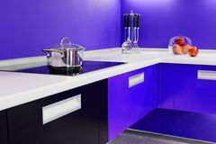 Blue white kitchen modern interior. Design house architecture Royalty Free Stock Images