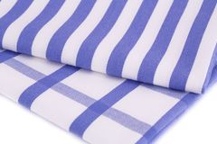Kitchen towels. Blue and white kitchen towels closeup picture Stock Photos