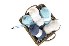 Blue and white  knitting yarn in a basket Royalty Free Stock Image