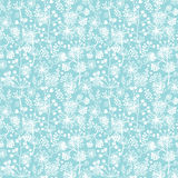 Blue and white lace garden plants seamless pattern Stock Photos