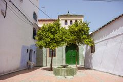 Blue White Lane Tetounat cities in Morocco Royalty Free Stock Photography
