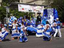 Blue and White Latinas. Photo of latinas dressed in blue and white colors of el salvador at the parade at fiesta dc-festival latino on 9/19/15.  Fiesta dc is a Royalty Free Stock Photo
