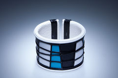 Blue and white leather bracelet Stock Image
