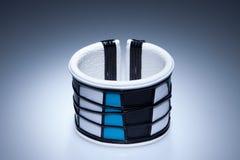 Blue and white leather bracelet Stock Image