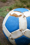 Blue and white leather soccer ball Stock Image