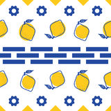 Blue and white lemon mediterranean seamless tile pattern. Geometric and citrus shapes vector texture for ceramic design, textile and wallpaper Stock Photography