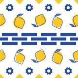 Blue and white lemon mediterranean seamless tile pattern. Stock Photography