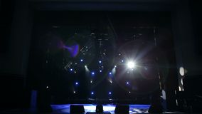 Blue and white light in the empty theater. Stage Lighting Background. stock video
