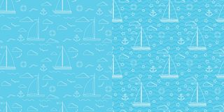 Blue and white line art vector seamless marine pattern set vector illustration