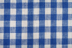 Blue and white linen fabric background. Stock Photos