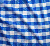 Blue and white linen tablecloth Royalty Free Stock Photography