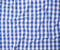 Blue and white linen tablecloth Stock Image