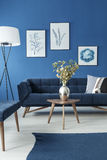 Blue and white living room. With sofa and small wooden coffee table Stock Images