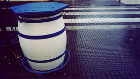 The Blue and White lonely Cask. Marine Style Decor Barrel Alone Royalty Free Stock Photo