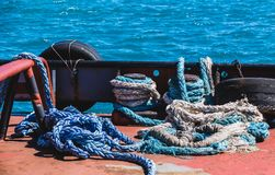 Loose Ropes on Deck Stock Photography