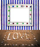 Blue and white matched plank wall sea style frame Stock Photo