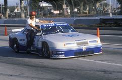 A blue and white Mazda Trans AM in the Toyota Grand Prix Car Race in Long Beach, CA Stock Photo