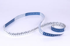 Blue and White Measuring tape on white background Royalty Free Stock Images