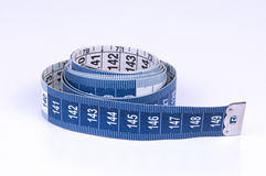Blue and White Measuring tape on white background Stock Photo