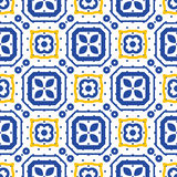 Blue and white mediterranean seamless ceramic tile pattern. Royalty Free Stock Photos